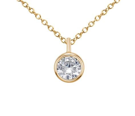 bezel solitaire pendant setting in 14k yellow gold blue nile