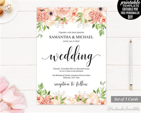flower wedding invitation templates and wedding invitation set printable floral