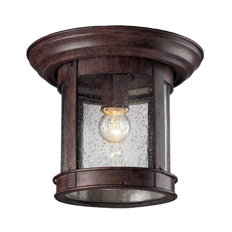 Outdoor Lighting Flush Mount Shop Z Lite 9 75 In W Weathered Bronze Outdoor Flush Mount Light At Lowes