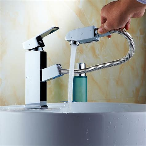pullout spray hose bathroom basin sink shower spout tap