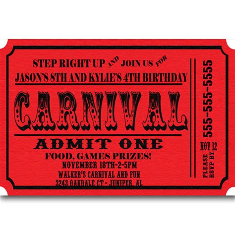 carnival event invitation ticket template carnival ticket birthday invitations announcement