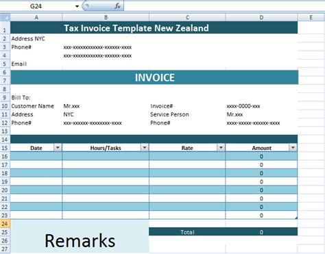invoice template nz excel tax invoice template new zealand xls microsoft excel