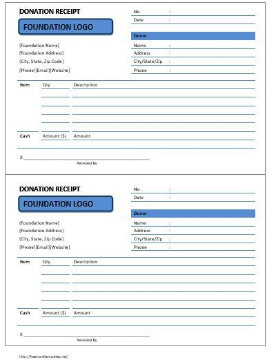 Pta Donation Receipt Template by Donation Receipt Templates