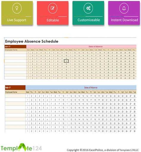 Employee Absent Schedule Template Excel Template124 Employee Absence Schedule Template