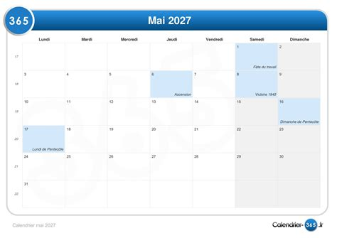 Calendrier 9 Mai Calendrier Mai 2027