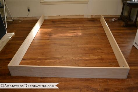 diy wood bed frame diy stained wood raised platform bed frame part 1
