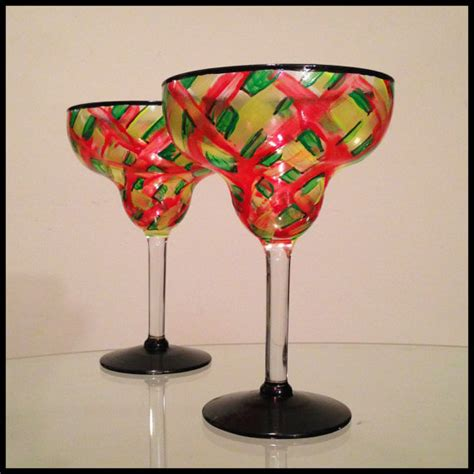 in stock painted margarita glasses price is for one