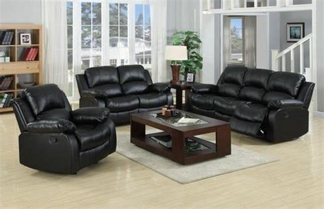 Sofas For Sale Ebay by Real Genuine Leather Recliner Sofa 3 2 1 Suite New Black