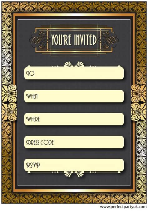 1920s great gatsby party invitation get the free