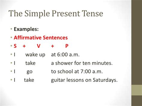 sentence pattern of simple present tense pp presentation 1 s p tense