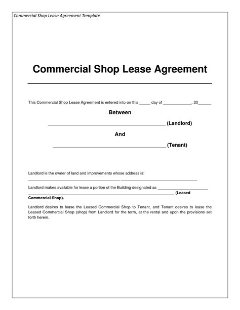 Agreement Letter For Shop Rent Best Photos Of Commercial Lease Exle Free Commercial Lease Agreement Form Sle