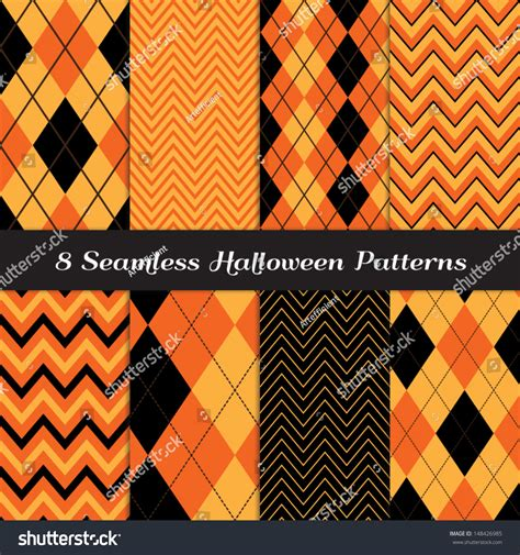 perfect pattern password halloween orange black brown argyle chevron stock vector