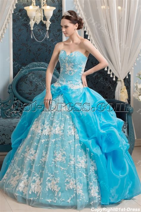 2014 aqua traditional gothic vestidos de quinceanera 1st