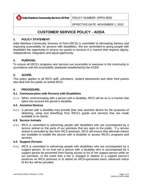 20 Customer Service Policy Exles Sles Customer Service Sop Template