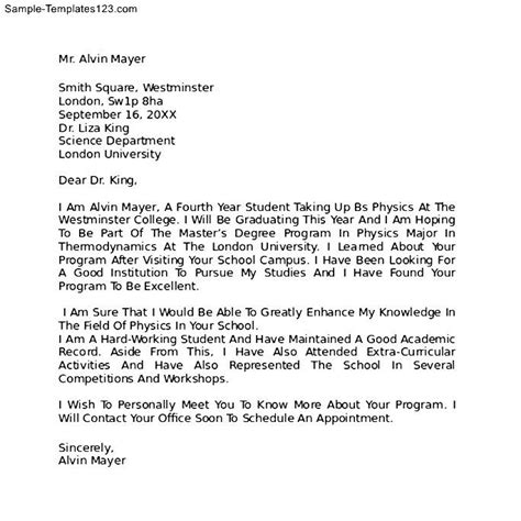 Letter Of Intent For College Letter Of Intent Format For College Sle Templates