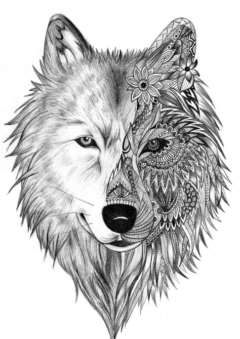 tribal wolf face tattoo wolf zentlange pinteres