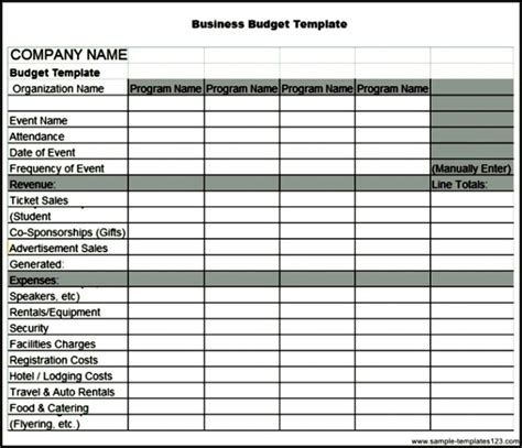 sle business budget monthly business expense template