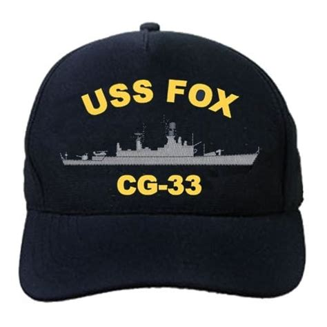 Fox Embroidered Baseball Cap cg 33 uss fox embroidered hat