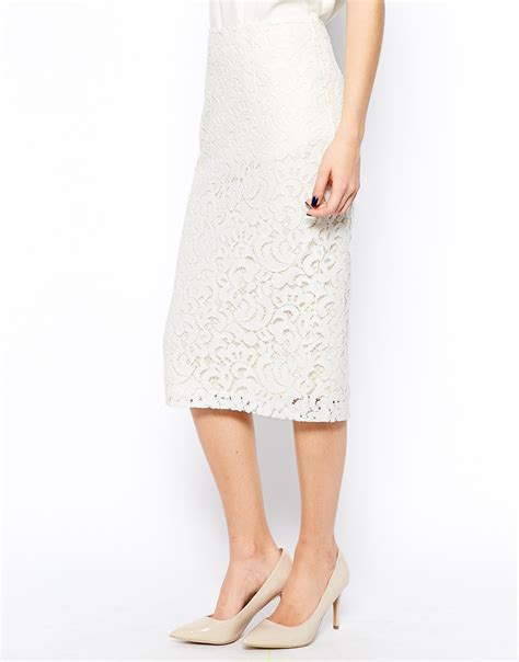 new look pretty lace pencil skirt at asos