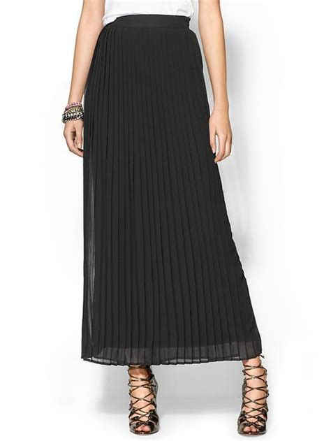 sabine pleated maxi skirt black lookmazing