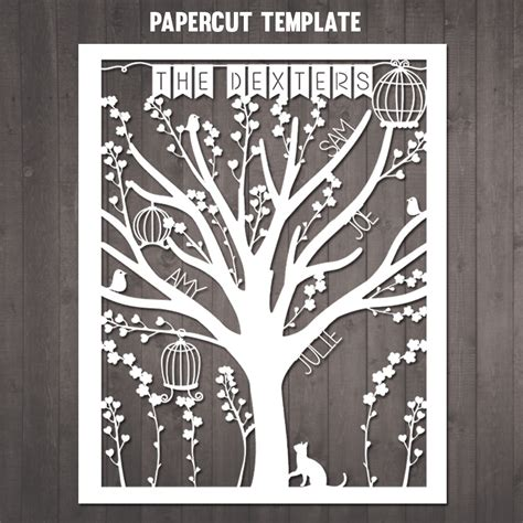 Diy Family Tree Papercut Template Personalised Family Tree Paper Cut Out Templates