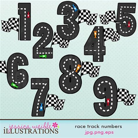 free printable race numbers race track numbers cute digital clipart commercial use