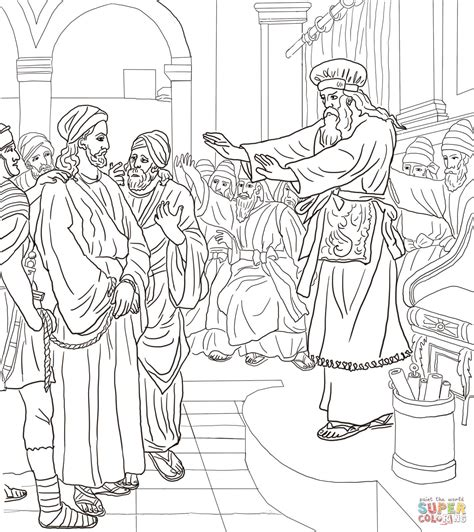 coloring page jesus arrested jesus before caiaphas trial coloring page free printable
