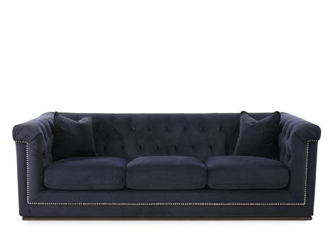button tufted sofa button tufted velvet 93 quot sofa in blue mathis brothers