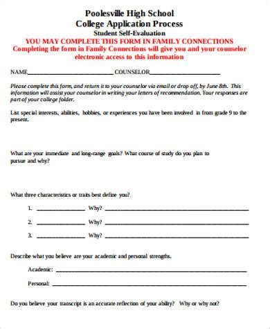 sle student self evaluation form 8 exles in word pdf