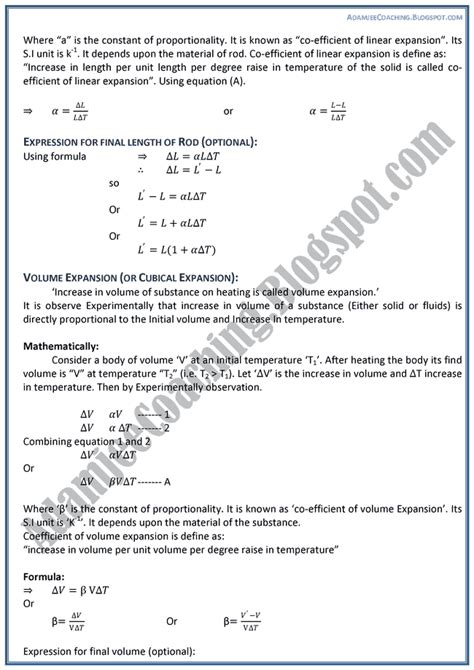 Theory Notes Mba by Adamjee Coaching Heat Theory Notes Physics Xii