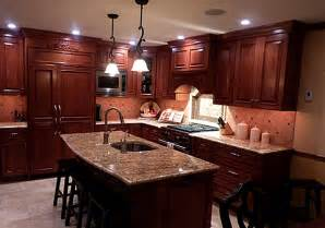 Granite Countertops With Cherry Cabinets Creating A Stylish Kitchen Look Using Kitchen Colors
