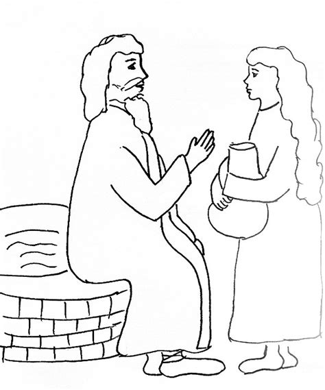 printable coloring pages woman at the well bible story coloring page for jesus and the woman at the