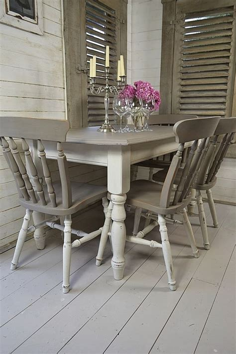 Grey White Shabby Chic Dining Table With 4 Chairs Artwork Shabby Chic Dining Table And Chairs