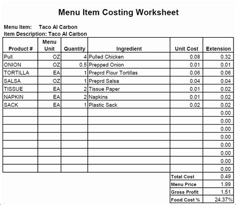 food cost card template food cost worksheet resultinfos