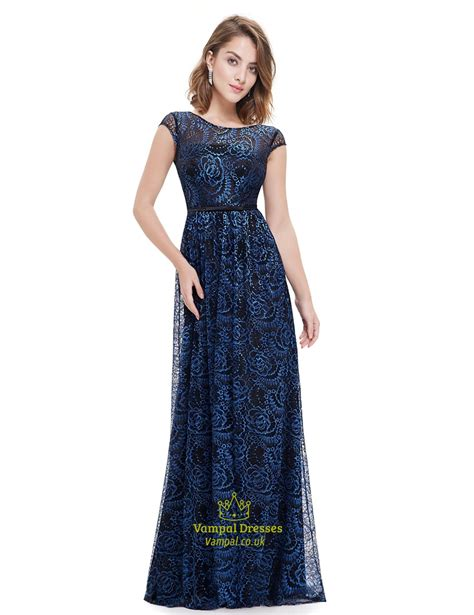 Jc Longdress V Back 132 navy blue capped sleeve v back prom dress with lace overlay val dresses