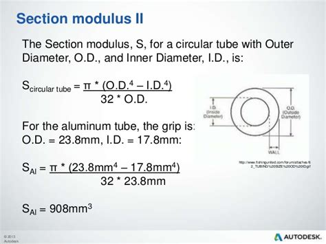 section modulus of pipe formula material selection
