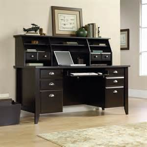 desk and hutch sauder shoal creek desk and hutch jamocha wood walmart
