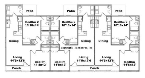 apartment unit design triplex plan j891 t 2 bedroom 2 bath per unit multi