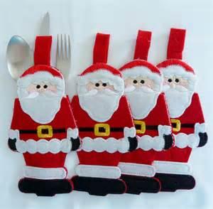 nip christmas santa cutlery utensil embroidered table