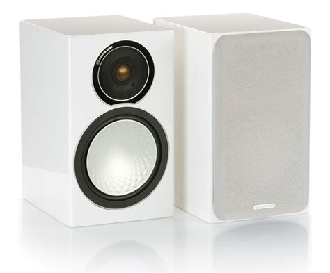 monitor audio silver 1 gloss white bookshelf speakers