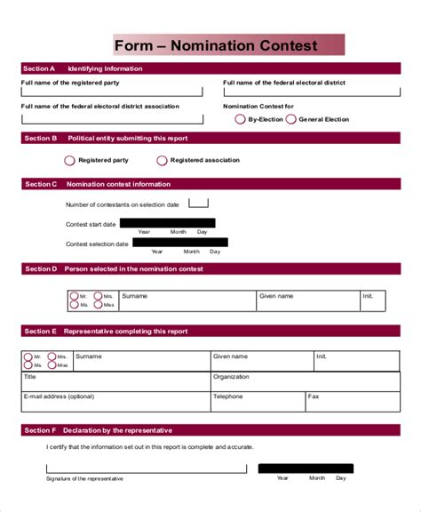 7 Sle Contest Forms Sle Templates Nomination Form Template