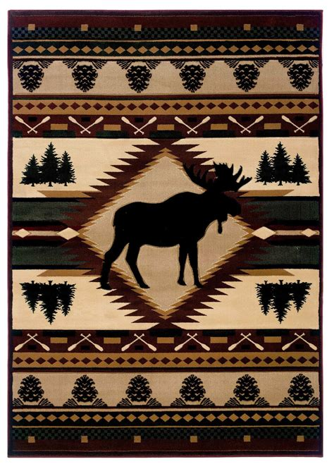 cabin themed rugs area rug moose wilderness 31 quot width x 50 quot length area rugs featuring nautical coastal