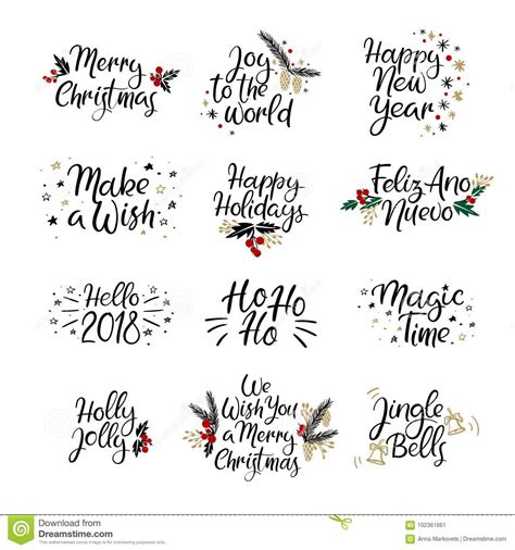 set  merry christmas  happy  year cards modern calligraphy hand lettering  greeting