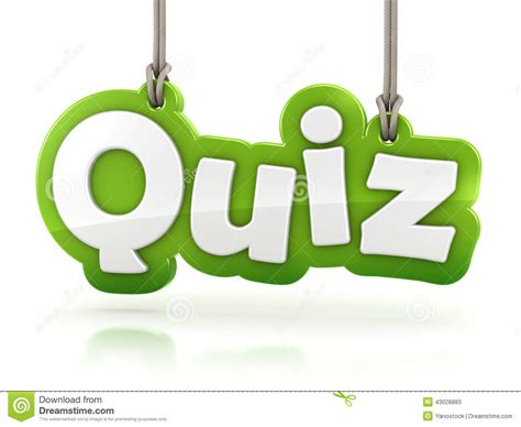 Image Quiz by Quiz Green Word Text On White Background Stock