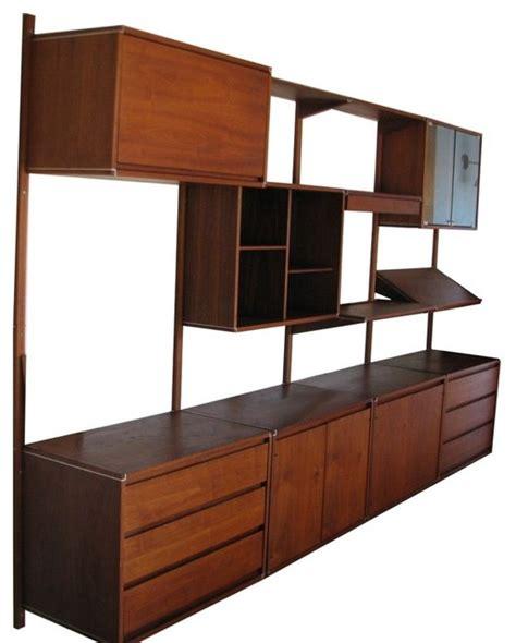 mid century wall units modern storage and organization