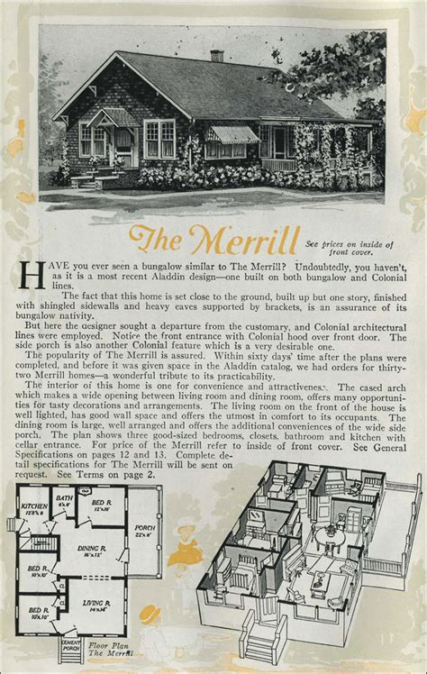 Aladdin Homes Floor Plans 1920 cottage bungalow the merrill aladdin homes