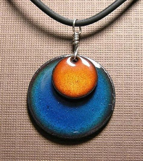 how to make copper enamel jewelry orange and blue copper enamel handmade necklace handmade