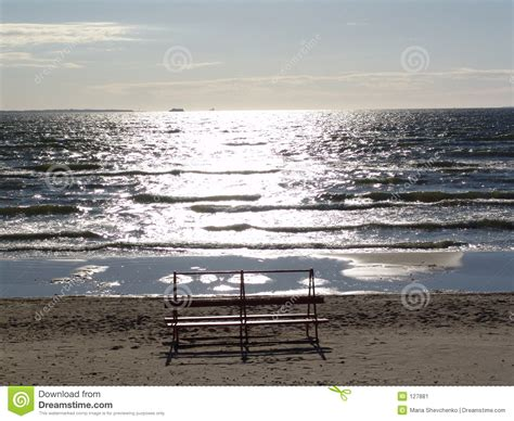 bench on the beach bench on the beach stock image image 127881