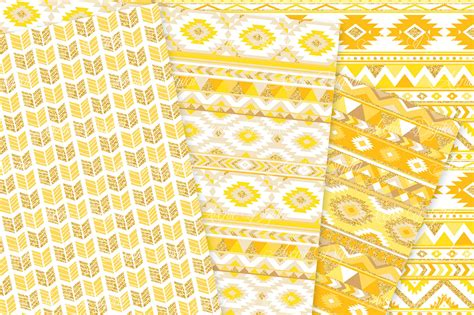 gold aztec pattern yellow and gold aztec digital pape by aveniedigital