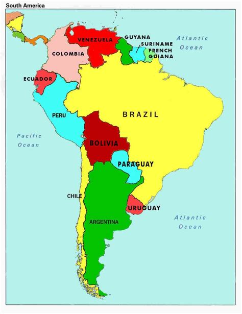 country map with state names map of south america countries and capitals map of south